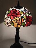 『ステンドグラスランプ』 薔薇 ジュエルローズ柄 8インチ・テーブルランプ(QXCH8-2)【即納】【送料無料】 ステンドグラス ランプ テーブルランプ