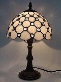 『ステンドグラスランプ』モダンホワイト8インチ・テーブルランプ(8142)
