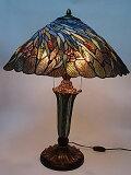 『ステンドグラスランプ』蝶々と麦畑柄20インチ・テーブルランプ(GM2005199)
