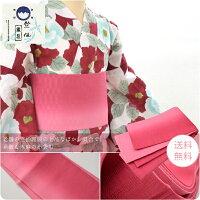 【浴衣帯】竺仙,本麻,小袋帯・細帯・半幅帯/ぼかし染め,21色=苺色,ちくせん