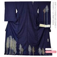 【訳あり/仮絵羽】正絹,仮仕立て訪問着/天然藍染,未仕立て品