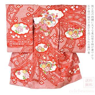 女童絲綢和服首鈴聲鉚接掛的衣服染成了金氏馬球繡鼓花點綴了貨物