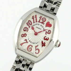 FRANCK MULLER Heart To Heart 5002 S QZ C1H J RED Quartz Silver Dial Guilloche Ladies Wrist Watch SS [Used]