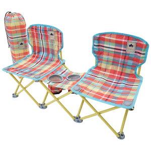 【あす楽】ロゴス/LOGOS ペアチェア プラス-AI(チェッカー)2人で座れるサイドテーブル付きコンパクトチェア 中央にサイドテーブルが連結された2人用のコンパクトチェア 大人子供兼用で使用可能 椅子 収束型チェア