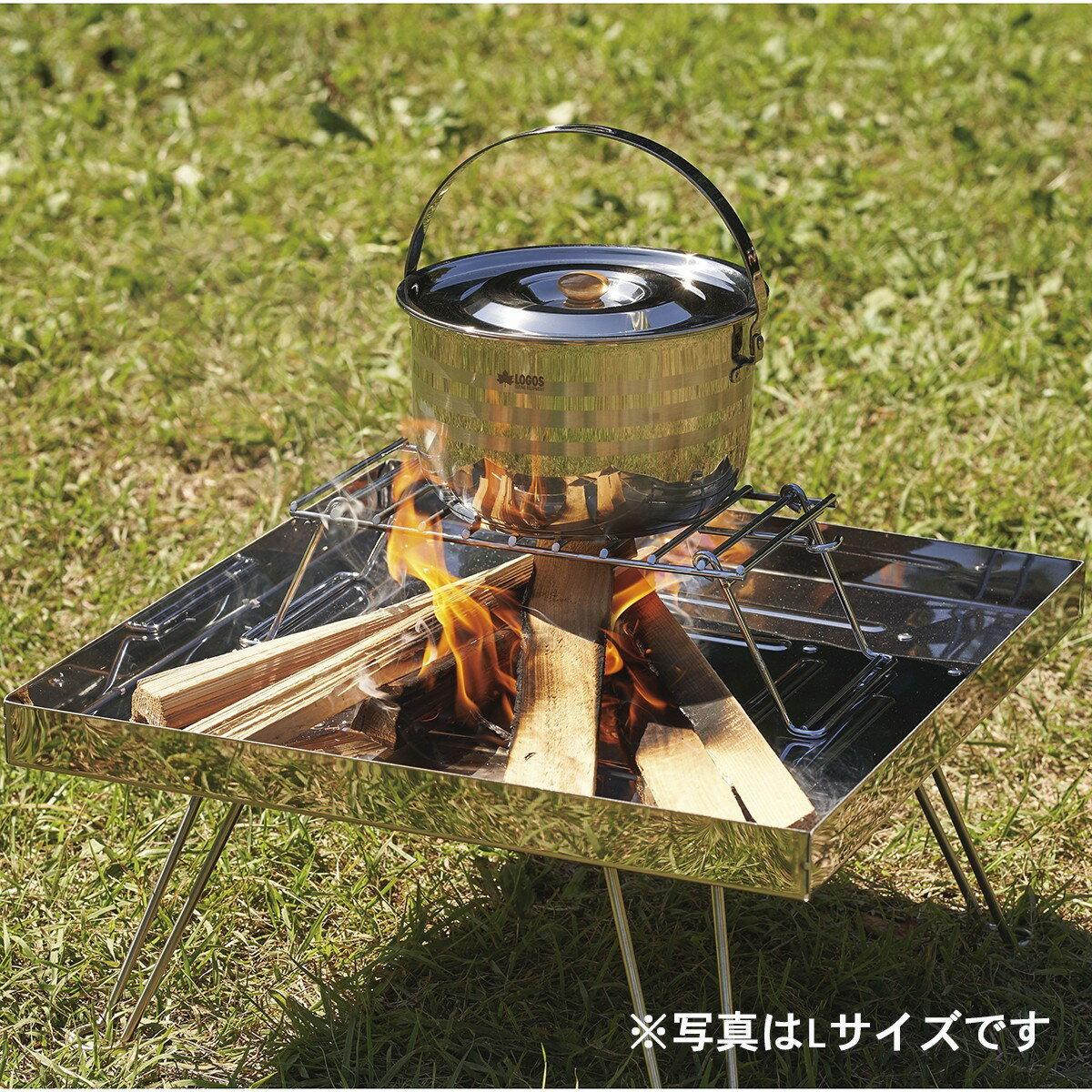 LOGOS/ロゴス ファイヤーラック XL 折り畳み式の耐熱ラック ピラミッドTAKIBIにセットすればケトルや小鍋でたき火調理ができます