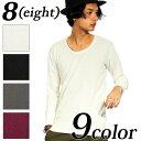 長袖Tシャツ ロンT メンズ Tシャツ 全8色 新作 長袖Tシャツロング 7分袖 Tシャツ ティーシャツ カットソー ブラック グレー ホワイト 黒 8(eight) エイト 8 【ゆうパケット対応商品】