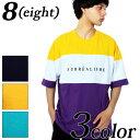 Tシャツ メンズ 半袖 ロゴ全3色 新作 Tシャツロゴ 半袖 Tシャツ ビッグTシャツコットン 綿 ネイビー グリーンイエロー M L ストリート系 アメカジ系 に◎8(eight) エイト 8 【ゆうパケット対応商品】