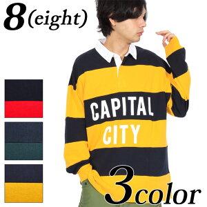 ラガーシャツ メンズ 長袖 ボーダー全3色 新作 ポロシャツボーダー 長袖 ロゴ カットソーイエロー レッド グリーンアメカジ系 ストリート系 8(eight) エイト 8
