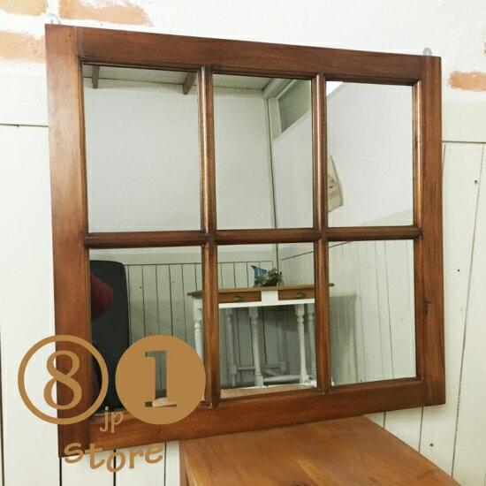 アンティーク調 木製窓枠 鏡 壁掛けミラー マホガニー 6枠