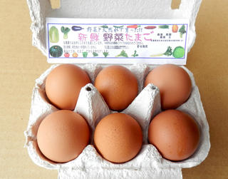 新鮮な野菜を食べたニワトリが生んだ卵【野菜たまご】自然な色合いです【注文の翌日発送を心がけています】
