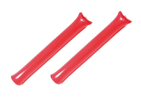 ポリ応援棒(応援スティックバルーン) 赤色 1袋2本入り