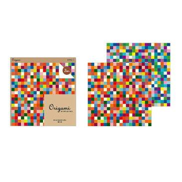 【ネコポス便対応可能商品】 【Origami<オリガミオリガミ>】 オリガミ 2色アソート<15角> ベーシック モザイク柄 ミドリ 34374