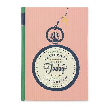 日記帳 [日付表示なし/フリータイプ] メッセージ時計柄 B6サイズ デザインフィル(ミドリ) 12848