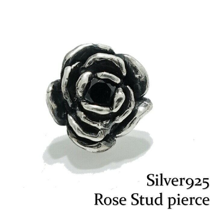 レディースジュエリー・アクセサリー, ピアス Silver925Rose Stud pierceBlack Rose 925