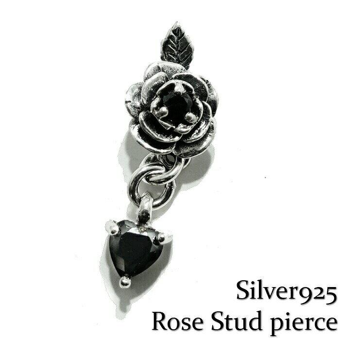 メンズジュエリー・アクセサリー, ピアス Silver925Rose PierceBlack Rose 925