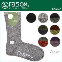 【メール便対応】rasox(ラソックス)ベーシック【5色】[クルー丈ソックス・靴下]