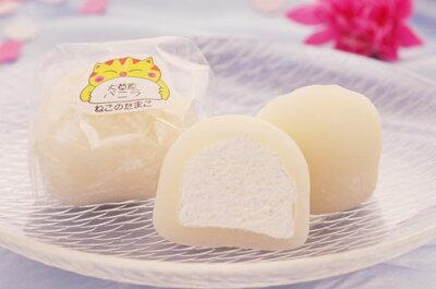 うす〜いお餅の中に甘いバニラと爽やかないちごのクリーム【北海道限定】ねこのたまご バニラ...