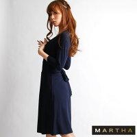 【MARTHA】マーサ★カシュクールジャージーワンピース[Lサイズ有り][6108]【3980円以上送料無料】