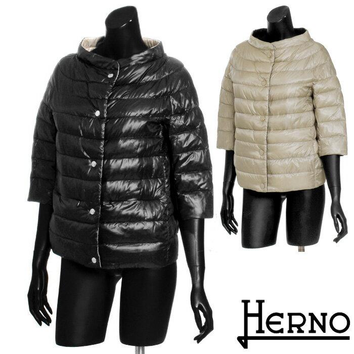 HERNO ヘルノ リバーシブルダウンジャケット 定番ショート丈 スタンドカラー 7分袖で華奢見せ ウルトラライトダウンで防寒バッチリ 大きいサイズ有り [2135]【4800円以上】