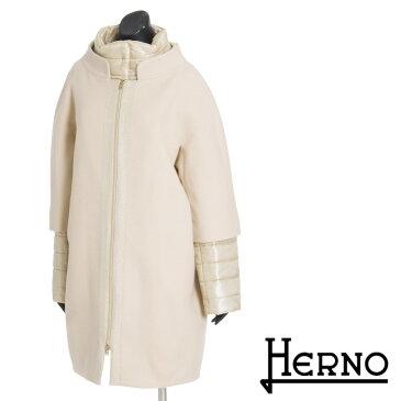 \スーパーSALE/【送料無料】【HERNO】ヘルノ/ウール×ダウンジャケットレイヤードコート/ダウン/ウールコート/ロングコート/スタンドカラー/コクーンシルエットで華奢見せ/ウール×ウルトラライトダウンで防寒/CA0165D[4147be]