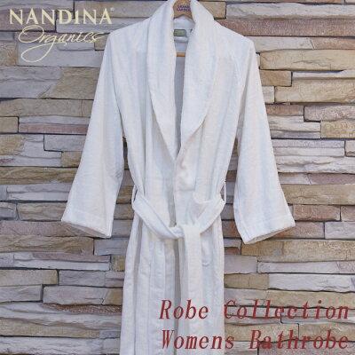 NANDINAナンディナオーガニックコットンメンズバスローブガウンホワイトBambooBathrobe天然素材バスローブメンズ