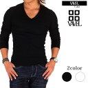 【送料無料】【BARTOLO VAVEL】Tシャツ メンズ 長袖テレコ素材 vネック スリムカットソー Tシャツ ロンTホワイト ブラック 無地コットン100% シンプルバルトロ ヴァヴェル あす楽対応
