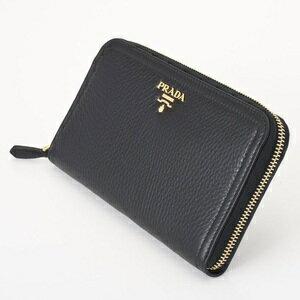 PRADA1M0506VITELLODAINOプラダラウンドファスナー長財布型押カーフスキンコバルトブルー