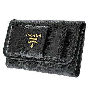0db65e7e2fd6 PRADA 1PG222S-FIOCCO-NEROプラダ 6連キーケース型押レザー ブラック×