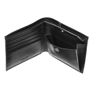 PRADA2MO738-SAFF/NERプラダ二折財布型押レザーブラック×シルバー
