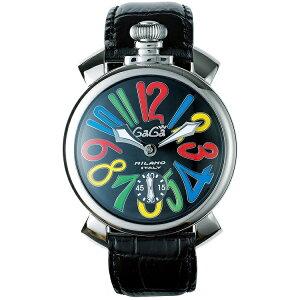 GAGA MILANO 5010.02SMANUALE 48MMガガミラノ マヌアーレ 48ユニセックス 手巻き 腕時計レザー ステンレスブラック×マルチカラー