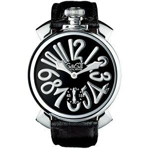 GAGA MILANO 5010.04SMANUALE 48MMガガミラノ マヌアーレ 48ユニセックス 手巻き 腕時計レザー ステンレスブラック×シルバー
