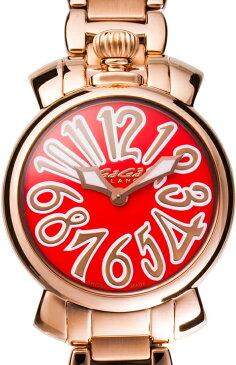 GAGA MILANO 6021.6MANUALE 35MM 18K PVDガガミラノ マヌアーレ 35ユニセックス クオーツ 腕時計ステンレスピンクゴールド×オレンジ