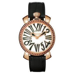 Gaga Milano 6026.01 MANUALE 35MM STONES 18K PVD Gaga Milano Manure 35 Unisex Quartz Wrist Watch Leather Stainless Black x White