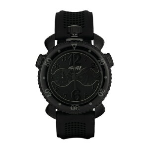 GAGA MILANO 7012.01CHRONO SPORTS 45MMガガミラノ クロノスポーツ 45ユニセックス クオーツ 腕時計シリコンラバー&ブラックPVDステンレスブラック×ブラック