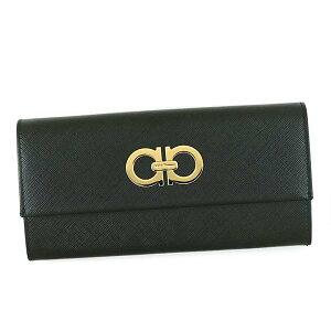 SalvatoreFerragamo227121-614203フェラガモホック長財布レザーブラック×ゴールド