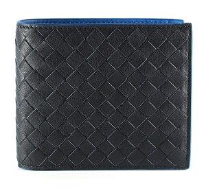 BOTTEGAVENETA113993-VBD51-8974ボッテガヴェネタ二折財布レザーダークネイビー×ピーコック