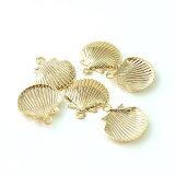 メタルチャームシェルゴールド(2ヶ)丸カン2ヶ付き├メタルチャームパーツ貝海ハワイハワイアン真珠真珠貝ピアスイヤリングブレスレットネックレス┤