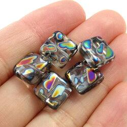チェコビーズピーコックビーズスクエア約10×10mm(1ヶ)ブラックダイアモンド├アクセサリーパーツアクセサリーパーツチェコビーズブレスレットネックレスハンドメイド手作りピーコック┤