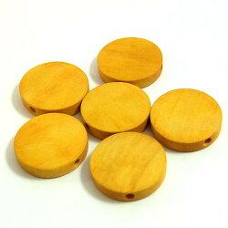 ウッドビーズパーツラウンド18mm(1個)きいろ├ウッド木ビーズアクセサリーパーツアクセサリーパーツブレスレットピアスイヤリングネックレスワンポイント手芸資材素材┤
