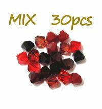 【mix】 スワロフスキー ビーズ #5328 ソロバン レッド系ミックス ◆4mm◆ (30個入)