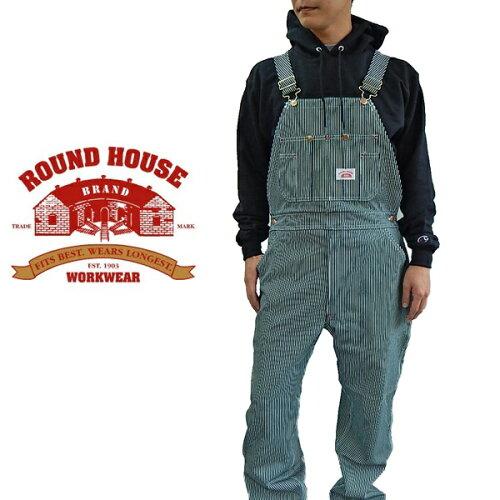 ROUND HOUSE ラウンドハウス ヒッコリー オーバーオール MADE IN USAレングス...