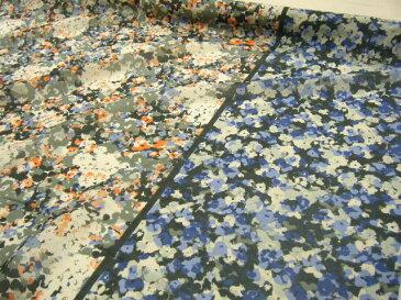 【メール便3mまでOKです】【 1m 1,280円 】♪ 天然素材100% ♪ 安心の日本製 バイカラー フラワー −花柄− プリント シルク コットン 生地 ◆ オレンジ×ブルーmix ◆≪ 日本製 国産 激安 生地 服地 布地 布 綿 絹 綿シルク≫ s8ke103 b
