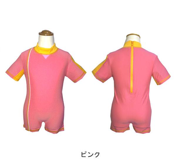 無料で名前が入れられる!日本製ベビーラッシュガードスーツタイプ(ラッシュオール)半袖+半ズボンタイプWB-2701子供用つなぎラッシュガード紫外線対策水着UVカット