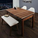 ダイニングテーブルセット 4人用 椅子 ベンチ おしゃれ 伸縮式 伸長式 安い 北欧 食卓 4点 ( 机+チェア2+長椅子1 ) 幅140-240 デザイナーズ クール スタイリッシュ ヘリンボーン風 ミッドセンチュリー ウォールナッ
