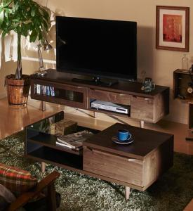 テレビ台 ローテーブル 棚 ディスプレイ ウォールナット 日本製 国産 ほぼ 完成品 2点セット/ローボード×センターテーブルダーク ブラウン 茶色 ウォールナット