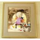 絵画 いわさきちひろ 暖炉の前でネコを抱く少女 額 児童画 色紙 送料...