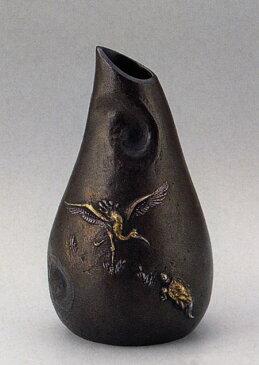 花器 鶴亀 大森 孝志 花瓶 花器 床の間 置物 銅製 ブロンズ 送料無料