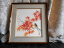 片山邦夫 紅葉に小鳥 肉筆 日本画 金彩入り 絵画