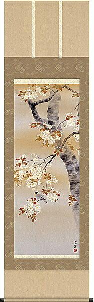 送料無料 近藤玄洋 桜花に小鳥 掛け軸 掛軸