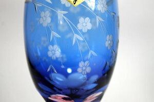 名入れ江戸切子グラス桜文様足付ビール杯ペアセット結婚祝い退職祝い両親贈呈ギフト卒団記念品先生への記念品卒業記念品